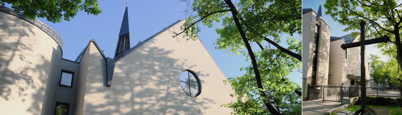 Kościół wiosną z krzyżem